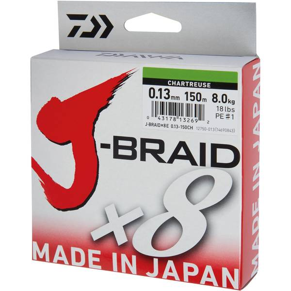 DAIWA J-BRAID X8 CHARTREUSE 016MM/9,0KG/150M