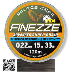 SAVAGE GEAR FIR TEXTIL FINEZZE HD4 BRAID YELLOW 008MM/4,5KG 120M