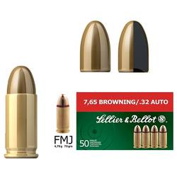 SELLIER & BELLOT CARTUS 7,65 BROWNING FULLMANTEL/4,75G. / .32AUTO FMJ