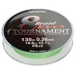 DAIWA TOURNAMENT X8 EVO CHARTREUSE 020MM/18,0KG/135M
