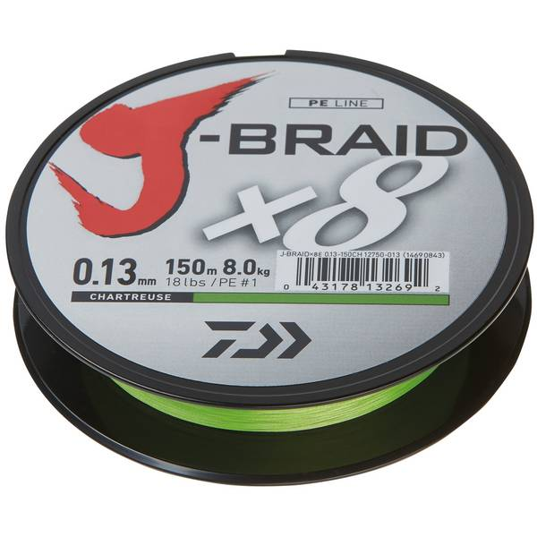 DAIWA J-BRAID X8 CHARTREUSE 013MM/8,0KG/150M