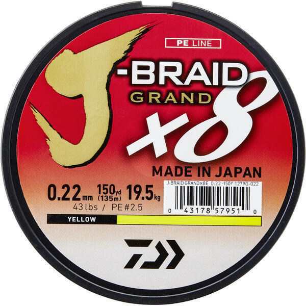 DAIWA J-BRAID GRAND X8 YELLOW 018MM/12,5KG/135M