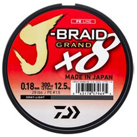 XX FIR DAIWA J-BRAID GRAND X8 GREY 018MM/12,5KG/135M