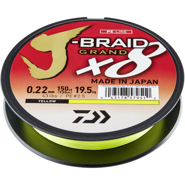 DAIWA J-BRAID GRAND X8 YELLOW 022MM/19,5KG/135M