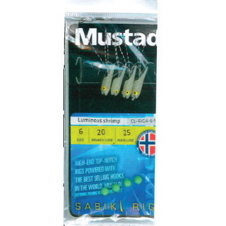 MUSTAD TAPARINA LUMINOUS SHRIMP NR.6 4BUC/PL