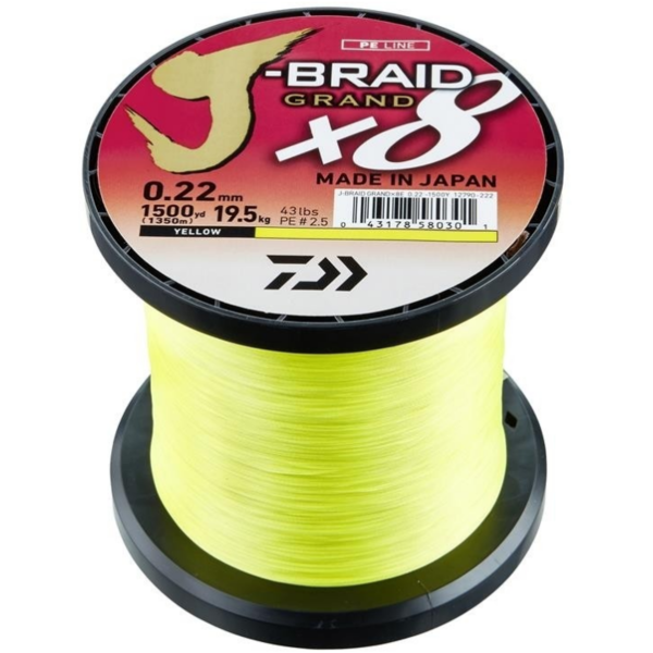 XX FIR DAIWA J-BRAID GRAND X8 YELLOW 020MM/16KG/1350M