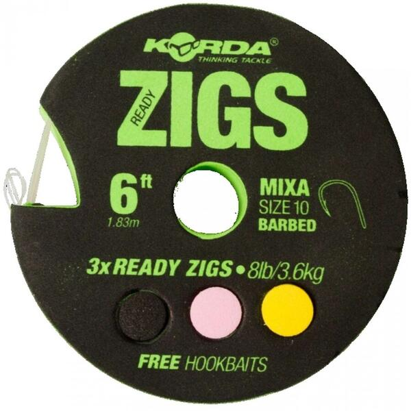 KORDA MONT.READY ZIGS BARBED NR.10/8LB 360CM